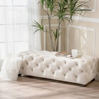 Piper Tufted Velvet Fabric Rectangle Ottoman Bench by Christopher Knight Home | Overstock.com Shopping - The Best Deals on Ottomans