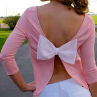Light Pink Bow Tie Cut Out Back Long Sleeve T-shirt - Choies.com