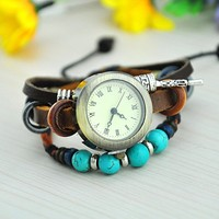 Vintage Style Leather Belt Watch with Turquoise Beads KJH001
