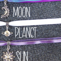 Celestial charm ribbon lace choker necklace with moon sun or planet charms