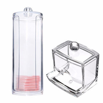 Transparent Round Container Storage Case Makeup Cotton Pad Box + Acrylic Cotton Swab Storage Holder Box