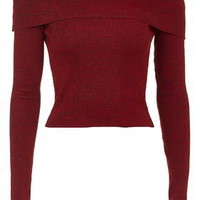 Two Tone Bardot Long Sleeve Top - Red