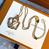 Louis Vuitton LV New Hot Women's Temperament Gold Letter Necklace