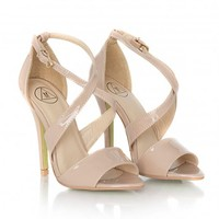 Missguided - Kazunia Leather Crossover Strap Heeled Sandals In Nude