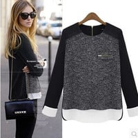 Block Knitted Loose Long-Sleeve Shirt