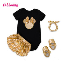 2016 Baby Girl Clothes 4pcs Clothing Sets Black Cotton Rompers Golden Ruffle Bloomers Shorts Shoes Headband  Newborn Clothes