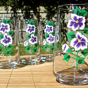 Hand Painted Glasses With Purple And White Flowers