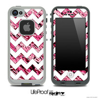 The Pink Abstract Camo Under WHite Chevron Skin for the iPhone 4 or 5 LifeProof Case
