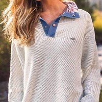 Pawleys Rope Pullover in Oatmeal by Southern Marsh