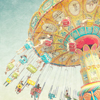 Spinning Wheel - Carnival Photography, Nursery Wall Art, Summer Vacation Fun, Colorful, Child's Room, Pastel, Blue Yellow