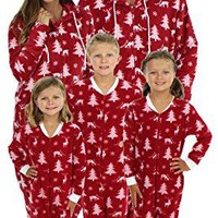 SleepytimePjs Family Matching Cranberry Deer Onesuit PJs Footed Pajamas