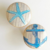 Nautical Knob Drawer Pulls, Blue StarFish or Anchor Cabinet Pull Handles, Beach Wood Dresser Knobs, Choose Style, Made To Order