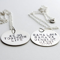 Grease Best Friend Necklace Set - Hand Stamped Metal