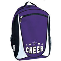 Tri-Color Cheerleading Backpack with Embroidered 2 Color Stars and Cheer