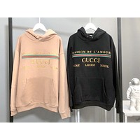 GUCCI new horizontal embroidery couple models plus velvet hooded sweater