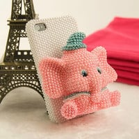 Bling Pink 3D elephant iPhone Case Cute by Serendipitygiftsshop