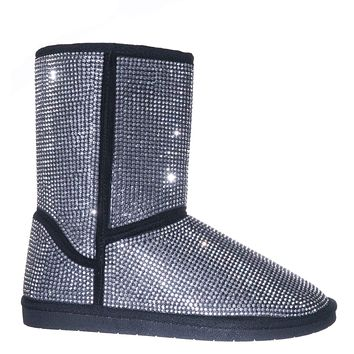 Ann20 Rhinestone Studs Mukluk  Lined  Boots - Women's Mid Calf Winter Shoes
