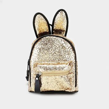 Sequin Cute Bunny Ears Mini Backpack Bag (Click For More Colors)