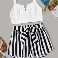 V-cut Neck Cami Crop Top & Striped Belted Shorts Set