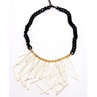 Scalene Triangles Necklace - Black/Gold