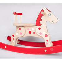 Wooden Rocking Horse Red Polka Dots, Rocking Toy