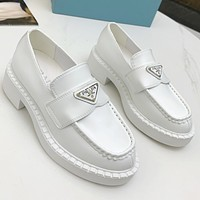 PRADA new product triangle logo ladies platform loafers casual shoes