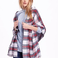 Old Navy Double Weave Flannel Scarf Size One Size - White/Red Plaid