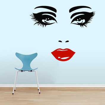 Makeup Wall Decal Vinyl Sticker Decals Home Decor Design Mural Make up Eyes Girl Woman Lips Cosmetic Hairdressing Hair Beauty Salon AN658