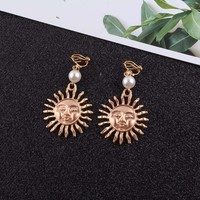 JIOFREE New bohemian style simulated pearl sun Clip on Earrings Without Piercing for Girls Party Needn't Ear Hole jewelry