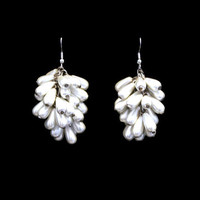 Pearl Tear Drop Cluster Earrings,  Bridal Jewelry