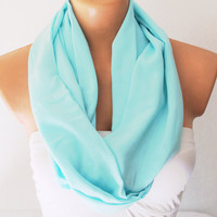 Infinity Scarf Loop Scarf Circle Scarf Cowl Scarf Soft and Lightweight Minty Green Cotton
