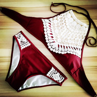 2017 Sexy Halter Crochet Bikini High Neck Red Bathing Suit Swimsuit Women Swimwear Biquini Maillot de Bain