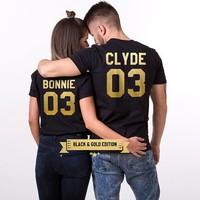 BONNIE CLYDE 03 matching couple t shirt fashion gold letter printed woman men Tumblr shirt graphic Tees top Unisex T-shirts