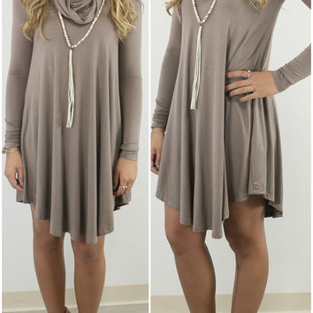 Crown Heights Taupe Cowl Neck Long Sleeve Curved Hem Dress