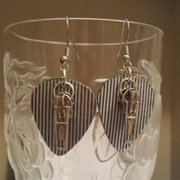 Betsy's Jewelry - Guitar Pick Earrings - Zippers - Rocker Chic Style - Pin Stripe - Upcycled Jewelry