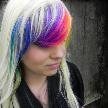 HAPPY HOLIDAYS SALE / Toxic / Blonde, Black, Green, Yellow, Orange, Purple, Blue, Pink / Long Straight Layered Rainbow Wig