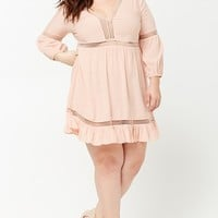 Plus Size Crochet Lace Peasant Dress