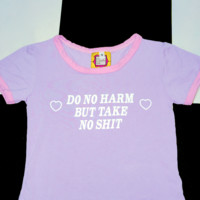 SWEET LORD O'MIGHTY! DO NO HARM RINGER TEE IN PURPLE
