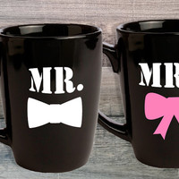 Mr. & Mrs. Mug Set for Couples. Mr. and Mr. Mrs. and Mrs. His and Hers Gift. Bride and Groom. Wedding Gift. Engagement Gift. Bridal Shower.