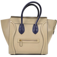 CelineLuggage Tote Bag Large Rare Tan Navy Leather | Pre-Owed Used