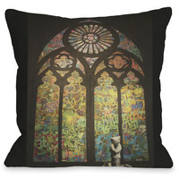 """""""Stained Glass Graffiti"""" Indoor Throw Pillow by Banksy, 16""""x16"""""""