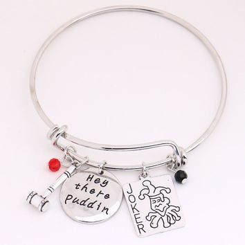 Suicide Squad Harley Quinn Bangles,Puddin Pendant with Joker Card,Hammer,Crystals Charms Cosplay Jewelry for Halloween,Christmas