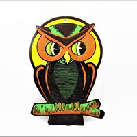 Beistle Co Halloween Wall Decor, Perched Owl, Orange and Black, Vintage Halloween Decor