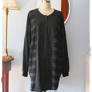 Cozy Vtg 80's Striped Wool Button-Down Oversized Slouchy Tunic Top