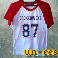 Women's Short Sleeve Raglan Baseball T-shirt - Rob Gronkowski design