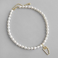 18K Gold Plated S925 Sterling Silver Baroque Freshwater Pearl Necklace Minimalist Jewelry