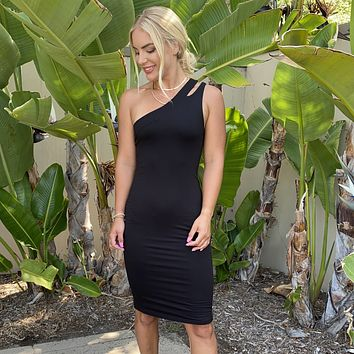 This Is Bliss One Shoulder Jersey Midi Dress in Black