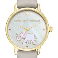 kate spade new york 'metro' elephant leather strap watch, 34mm   Nordstrom