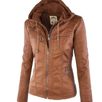 2016 New Fashion Autumn Winter Women Faux Soft Leather Jackets Zippers Long Sleeve Motorcycle Coat Removable Hood Women Coats
