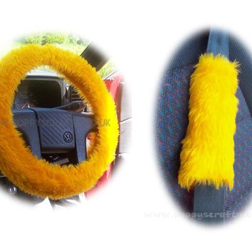 Marigold Car Steering wheel cover & matching fuzzy faux fur seatbelt pad set